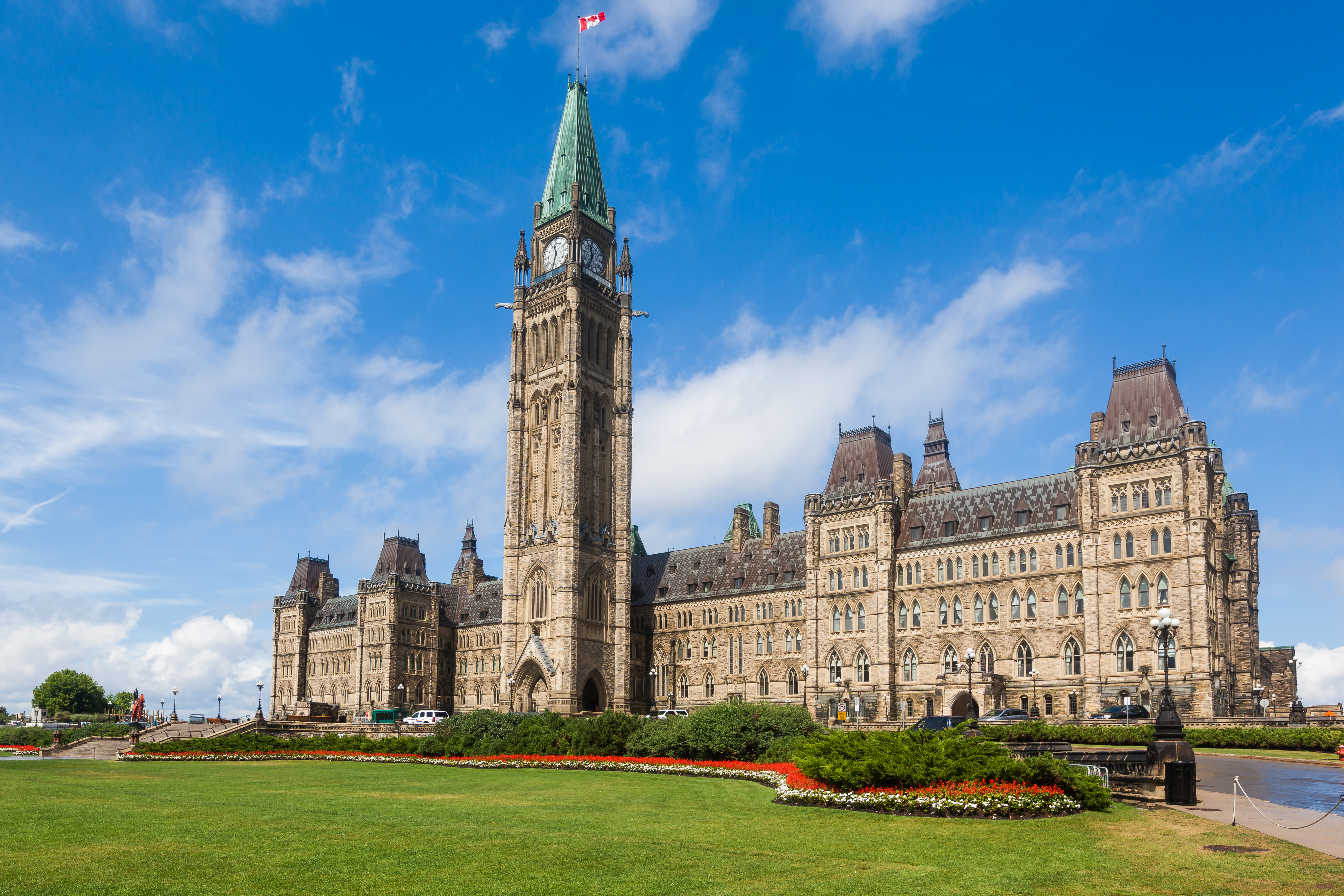 The Center Block and the Peace Tower in Parliament Hill, Ottawa, Canada. Center Block is home to the Parliament of Canada